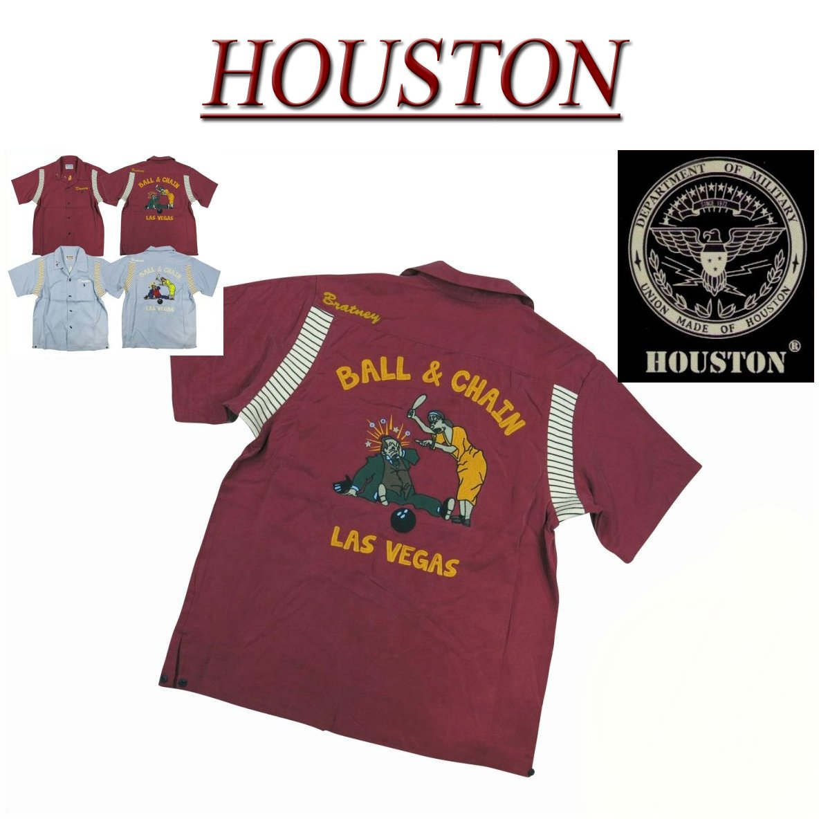 【2色3サイズ】 jc351 新品 HOUSTON チェーン刺繍 半袖 ボーリングシャツ 40381 メンズ ヒューストン S/S BOWLING SHIRT テンセル素材 ボウリングシャツ ワークシャツ アメカジ