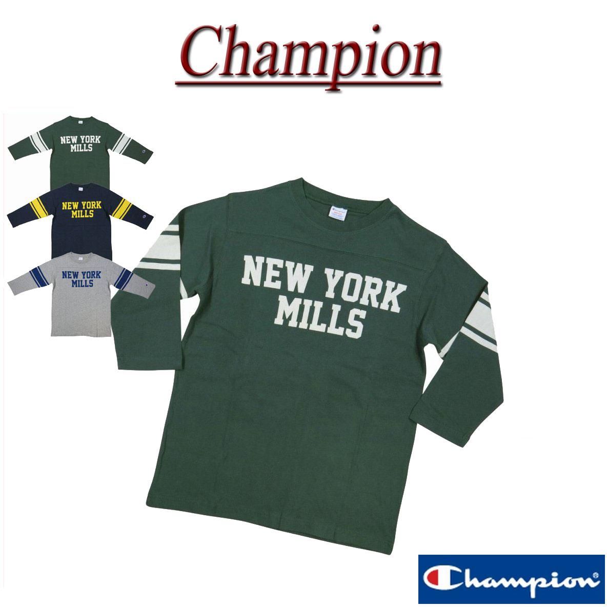 3c09a0716 New article-free  Champion  tricolor tag college print three-quarter  sleeves football T-shirt C3-N408