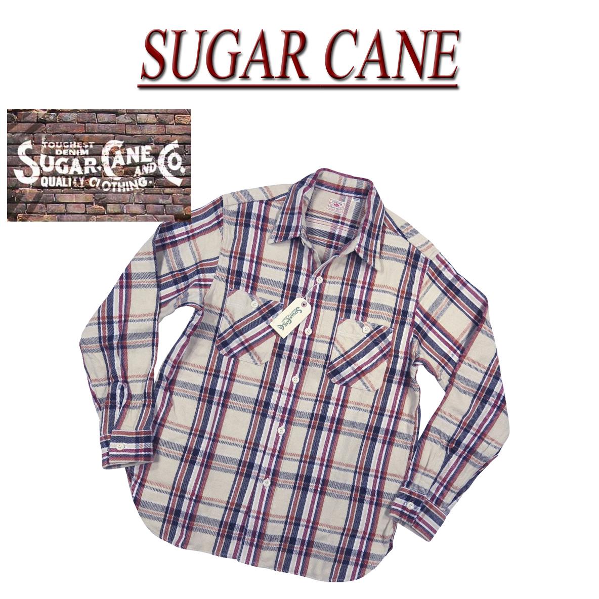 【4サイズ】 nb041 新品 SUGAR CANE 日本製 マチ付 チェック 長袖 ヘビーネルシャツ SC28235 メンズ シュガーケーン TWILL CHECK L/S WORK SHIRT ツイル ワークシャツ Made in JAPAN 【smtb-kd】
