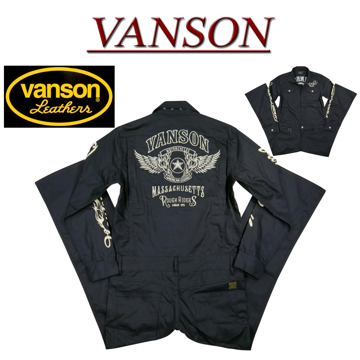5サイズnb081 新品 VANSON フライングスター ロゴ刺繍 ストレッチ コットンツイル ツナギ NVAO 902yvY6Ifgb7