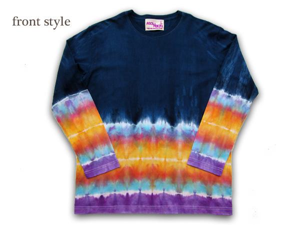 ASCENSION(アセンション)インディゴ グラデーション ロングTシャツAll Hand Made(オールハンドメイド)メンズ・レディース・Tシャツ・タイダイ・長袖・サイケデリック・ネイティブ・通販 as-534