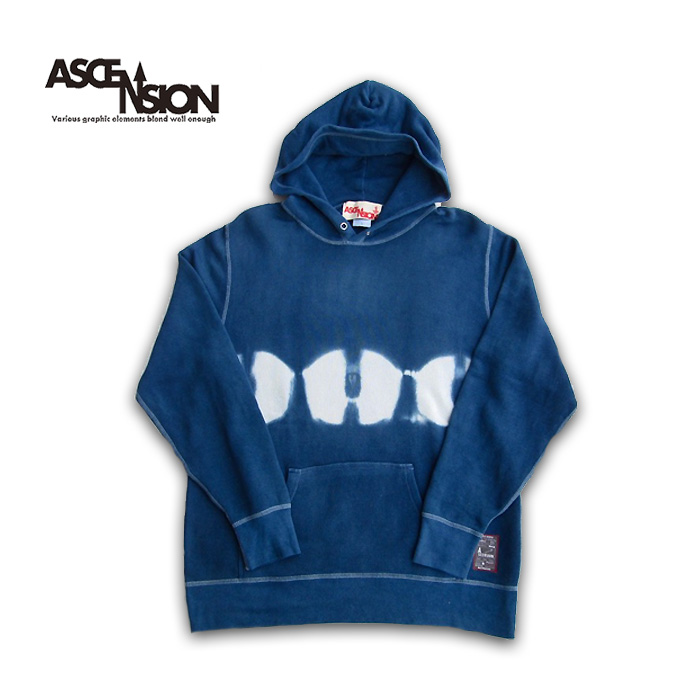 ASCENSION(アセンション)Tiedye Pullover Hoodie パーカー・アウター タイダイ・TIE-DYE インディゴ indigo as-734