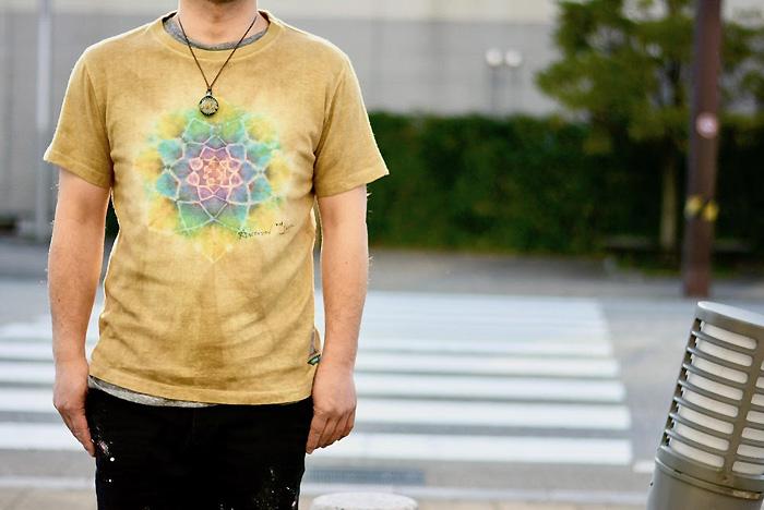 A HOPE HEMP × ASCENSION HEMP TEE 曼荼羅 Tie-dye Natural Brown Dye メンズ(mens)・レディース(ladys)・Tシャツ(T-shirt)・アウトドア(outdoor)・野外フェス・麻の葉・ヘンプ・グラフィック as-762