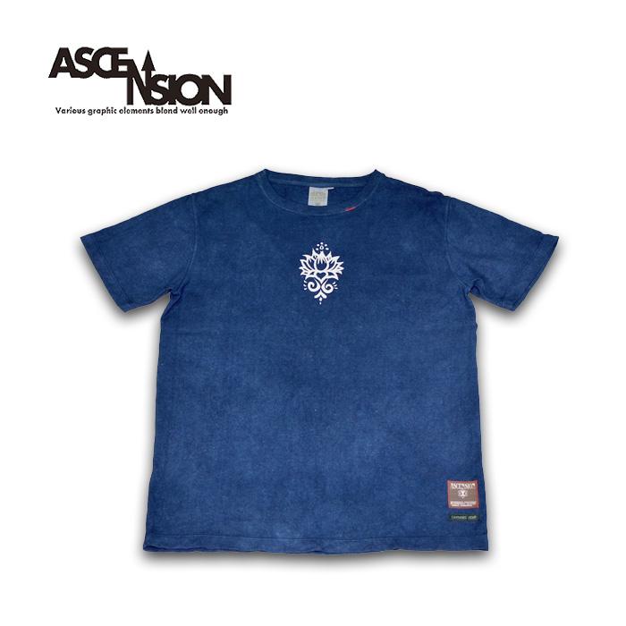 A HOPE HEMP × ASCENSION HEMP TEE 曼荼羅 Tie-dye Indigo Dye メンズ(mens)・レディース(ladys)・Tシャツ(T-shirt)・アウトドア(outdoor)・野外フェス・麻の葉・ヘンプ・グラフィック as-763