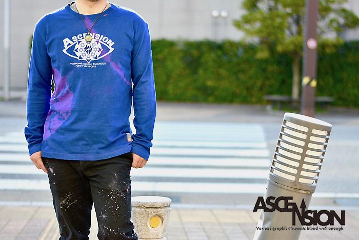 ASCENSION(アセンション)TIEDYE INDIGO LONG TEE  (藍染)メンズ・レディース・ナチュラル・プリント・オリジナル ロンティ コーディネート as-765