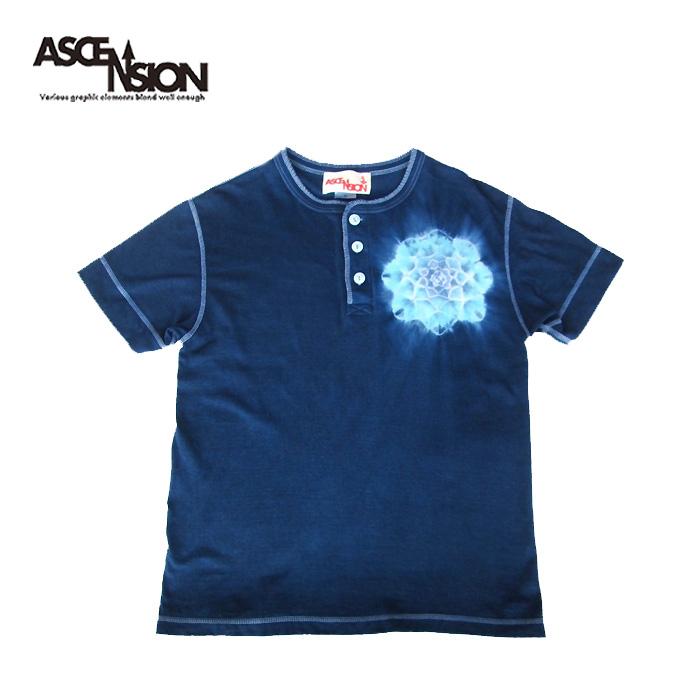 藍染めTシャツ 曼荼羅模様 タイダイ染め 藍染め ヘンリーネックTシャツ Tie-dye Tシャツ T-shirt アウトドア outdoor 野外フェス 麻の葉 ヘンプ グラフィック as-786