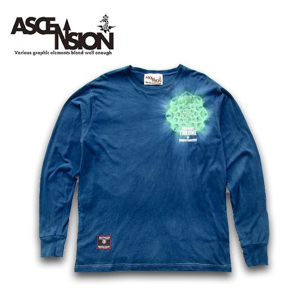 ASCENSION(アセンション)MANDALA INDIGO LONG TEE 藍染め・メンズ(mens)・レディース(ladys),Tシャツ (T-shirt)・タイダイ・TIE-DYE(tie dye)・アウトドア(outdoor) as-681