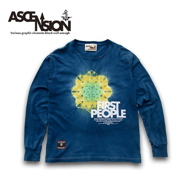 ASCENSION(アセンション)MANDALA INDIGO LONG TEE インディゴ染め・メンズ(mens)・レディース(ladys),Tシャツ (T-shirt)・タイダイ・TIE-DYE(tie dye)・アウトドア(outdoor) as-682