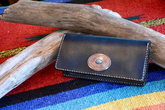 BLUE.art(ブルードットアート)藍染(INDIGO)Leather long wallet 一点物 ba-080