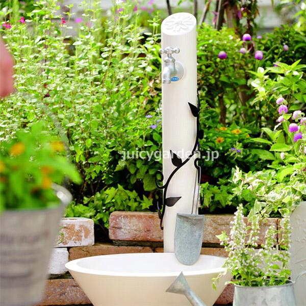 【立水栓 水栓柱】 上品な大人の可愛さ。 「フルール (水栓柱+ガーデンパン+蛇口1個セット)」 【送料無料】 お庭をスタイルを選ばないシンプルなカタチです 【立水栓セット】【立水栓ユニット】| ガーデニング 水栓パン 水洗 水道 ガーデンタップ 水受け[pt_sale2]