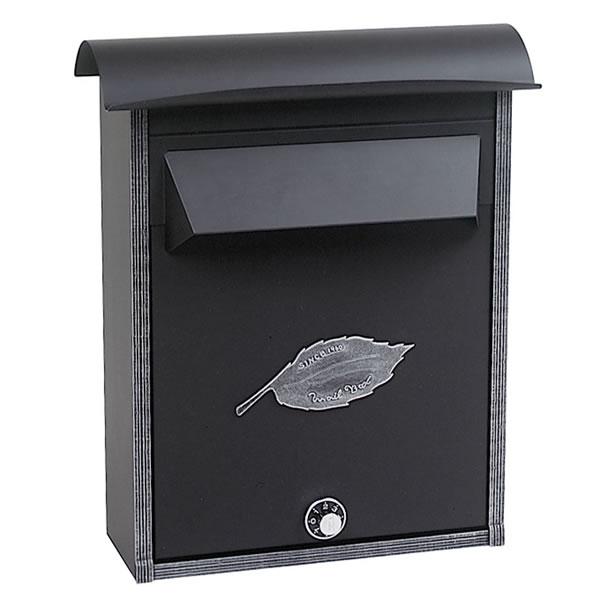 ノーヴルポスト シンプル:リーフ/ブラック <装飾のないノーブルポスト> 【送料無料】| 郵便ポスト 郵便受け おしゃれ おしゃれな メールボックス メール ボックス エントランス エクステリア 外構 シンプル モダン 縦型 壁掛け 壁付け スタンド スタンドポスト