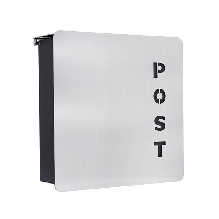郵便ポスト シンプル ハイビ ドイツ製 お買い得 POSTのロゴがアクセントになる「ハイビ社 (HEIBI社) Fondo-Verre ※鍵付き」【送料無料】