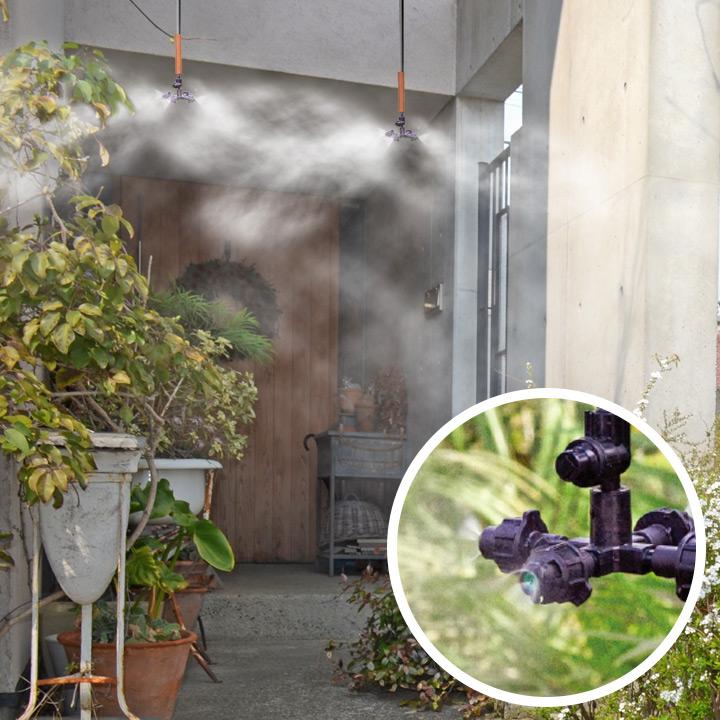 【散水機】【噴霧機】【ミストシャワー】 「グローベン 簡易ミスト ハンガーセット(水道圧タイプ)」