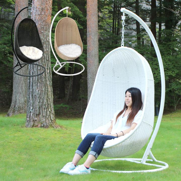 【ハンギングチェアー】【人工ラタン家具】 「リラックスハンギングチェア 楕円」