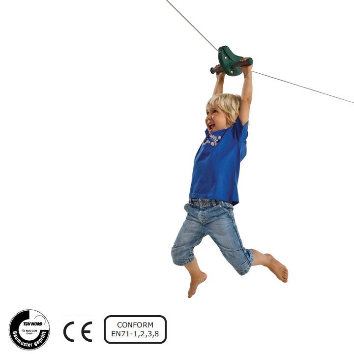 DIY 屋外 家庭用遊具 綱渡り ジップライン 「はらっぱギャング ターザンワイヤー(滑車付き)」 自作