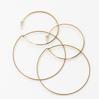 Rakuten Super Sale 60 %OFFSALE ☆ earrings Gold Double Circle Hoop (L)
