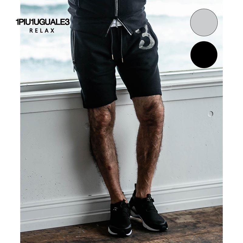 1PIU1UGUALE3 RELAX ウノピゥウノウグァーレトレ リラックス ラインストーン 3ロゴ ショートパンツ 黒 グレー