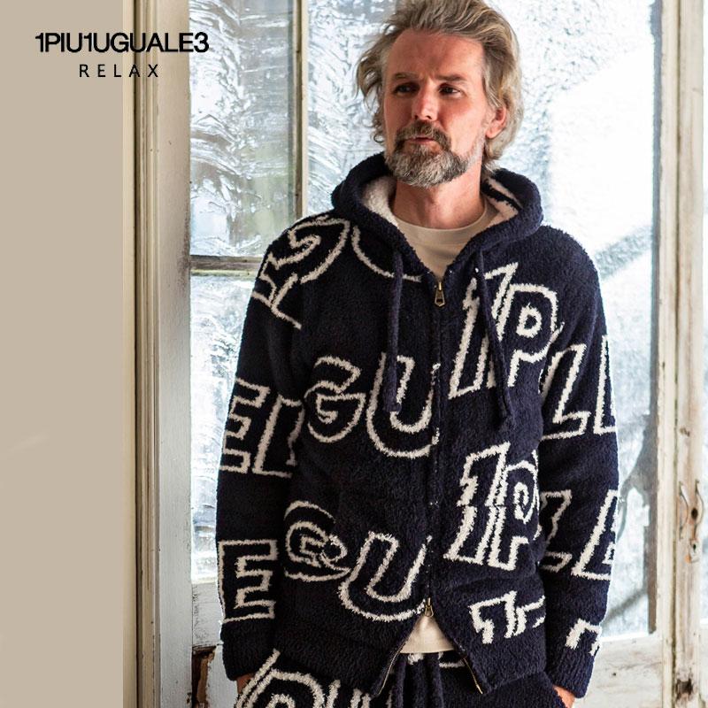 1PIU1UGUALE3 RELAX ウノピゥウノウグァーレトレ リラックス 総柄ロゴ ニットパーカー 長袖 メンズ ネイビー