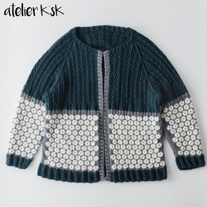 Atelier K'sK アトリエ K'sK 岡本啓子 編み込みカーディガン 棒針編み 手編みキット カーディガン