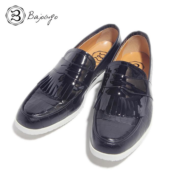 BajoLugo バジョルゴ おとこのブランドHEROES 掲載 シューズ スニーカー 靴 ローファー デッキ ドライビング クロコダイル エナメル ブラック 黒 MENS メンズ 送料無料