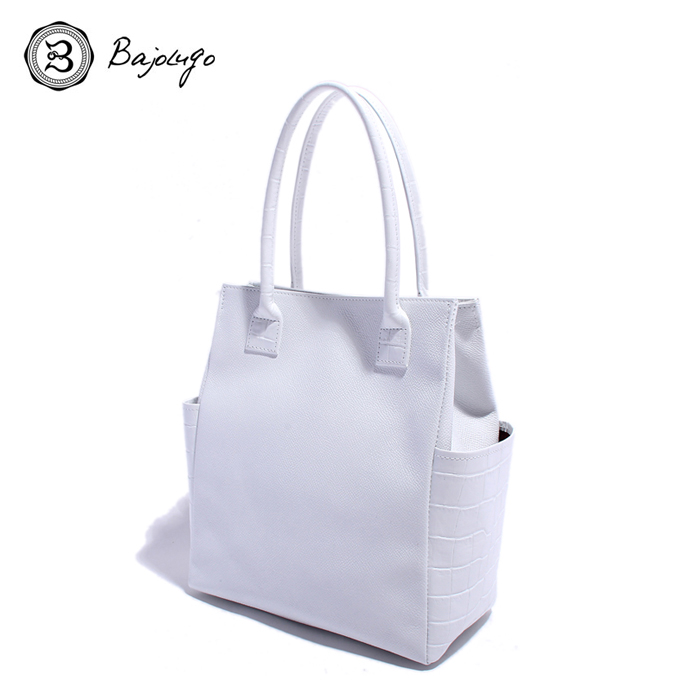 BajoLugo バジョルゴ クロコ型押しホワイト サイドポケット ミニトートバッグ