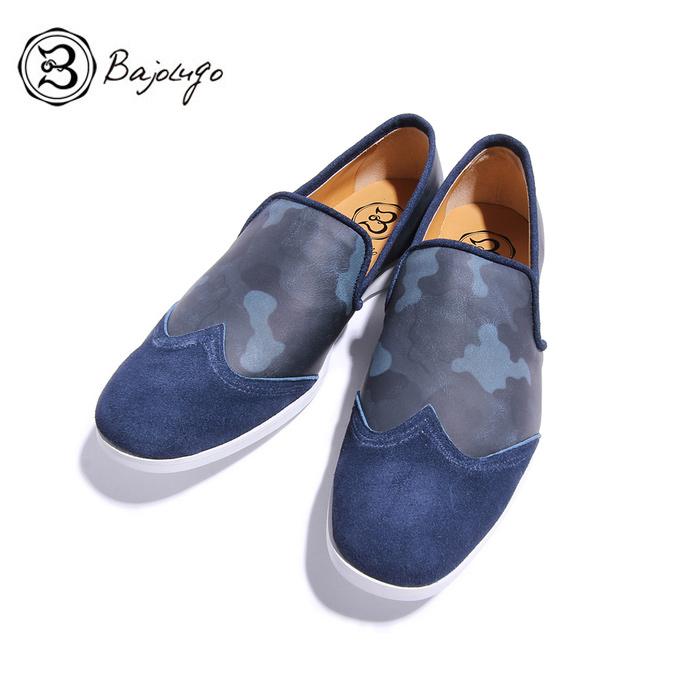 BajoLugo バジョルゴ おとこのブランド HEROES 掲載 シューズ スニーカー 靴 ローファー デッキ ドライビング ウィングチップ シューズ カモフラージュ ネイビー ブルー 迷彩 メンズ バンプ 送料無料