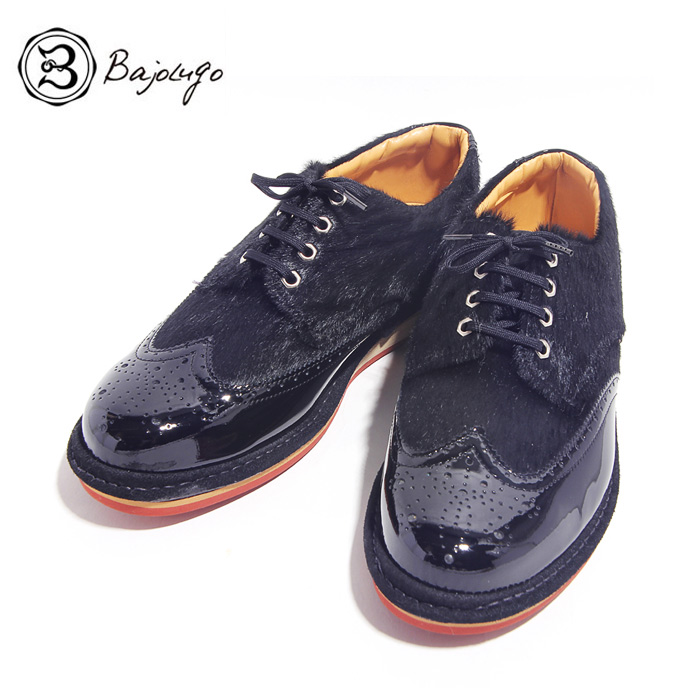 BajoLugo バジョルゴ おとこのブランドHEROES 掲載 ウィングチップ スニーカー シューズ ブラック メンズ 送料無料