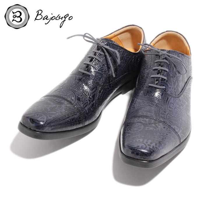 BajoLugo バジョルゴ おとこのブランドHEROES 掲載 ストレートチップ スニーカー シューズ ペイズリー 型押し レザー 靴 ネイビー NAVY 紺 本革 MENS メンズ 送料無料