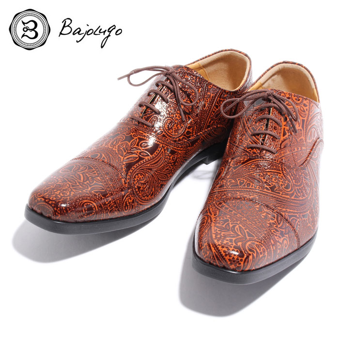 BajoLugo バジョルゴ おとこのブランドHEROES 掲載 ストレートチップ スニーカー シューズ ペイズリー 型押し レザー 靴 ブラウン BROWN 茶 本革 MENS メンズ 送料無料