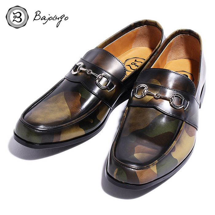 BajoLugo バジョルゴ おとこのブランドHEROES 掲載 ビット ローファー シューズ レザー 靴 カモフラージュ レザー 迷彩 アンティーク仕上げ MENS メンズ 送料無料