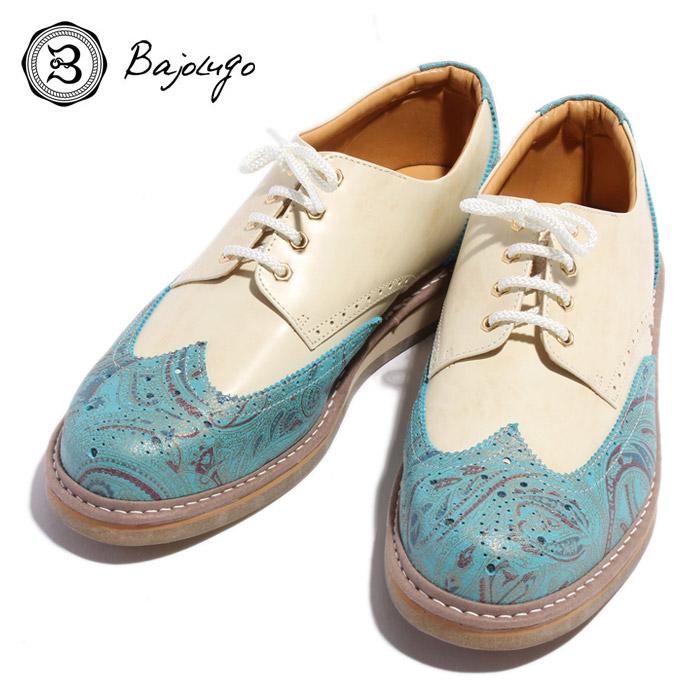 BajoLugo バジョルゴ おとこのブランドHEROES 掲載 ウィングチップ 靴 シューズ スニーカー ペイズリー レザー 本革 ムラ染め エメラルド ブルー オフホワイト ホワイト ナチュラル ヴィンテージ メンズ 送料無料