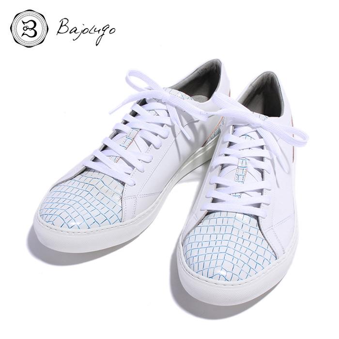 BajoLugo バジョルゴ おとこのブランドHEROES 掲載 スニーカー シューズ クロコダイル レザー 靴 ホワイト ライン ブルー MENS メンズ 送料無料