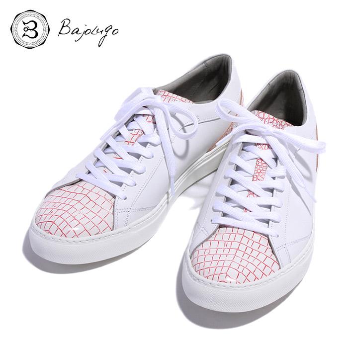 BajoLugo バジョルゴ おとこのブランドHEROES 掲載 スニーカー シューズ クロコダイル レザー 靴 ホワイト ライン レッド MENS メンズ 送料無料