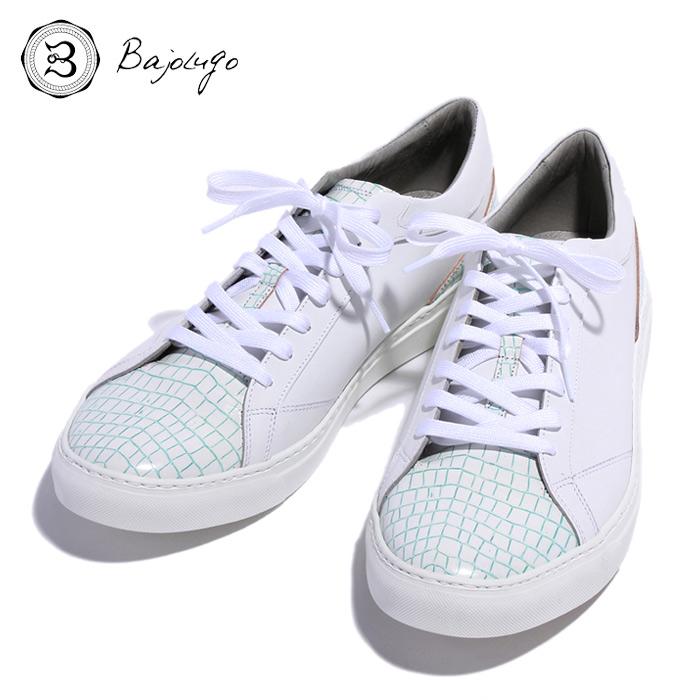 BajoLugo バジョルゴ おとこのブランドHEROES 掲載 スニーカー シューズ クロコダイル レザー 靴 ホワイト ライン グリーン MENS メンズ 送料無料
