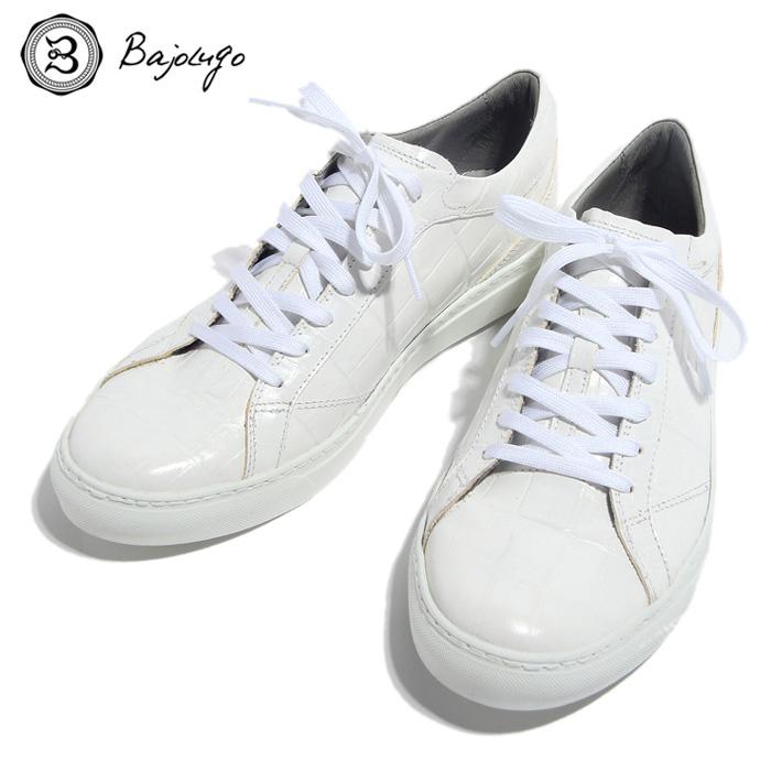 BajoLugo バジョルゴ おとこのブランドHEROES 掲載 スニーカー シューズ クロコダイル レザー 靴 ホワイト MENS メンズ 送料無料