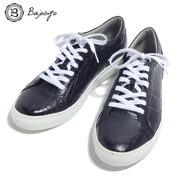 BajoLugo バジョルゴ おとこのブランドHEROES 掲載 スニーカー シューズ クロコダイル レザー 靴 ブラック MENS メンズ 送料無料