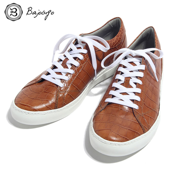 BajoLugo バジョルゴ おとこのブランドHEROES 掲載 スニーカー シューズ クロコダイル レザー 靴 ライト ブラウン MENS メンズ 送料無料