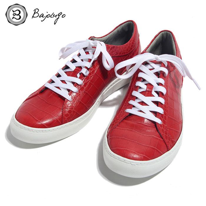 BajoLugo バジョルゴ おとこのブランドHEROES 掲載 スニーカー シューズ クロコダイル レザー 靴 レッド メンズ 送料無料
