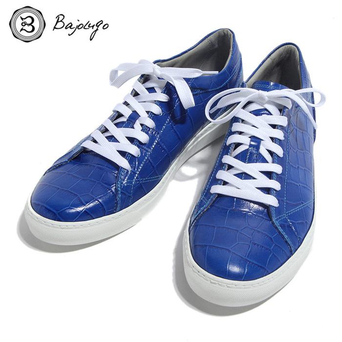BajoLugo バジョルゴ おとこのブランドHEROES 掲載 スニーカー シューズ クロコダイル レザー 靴 ブルー MENS メンズ 送料無料
