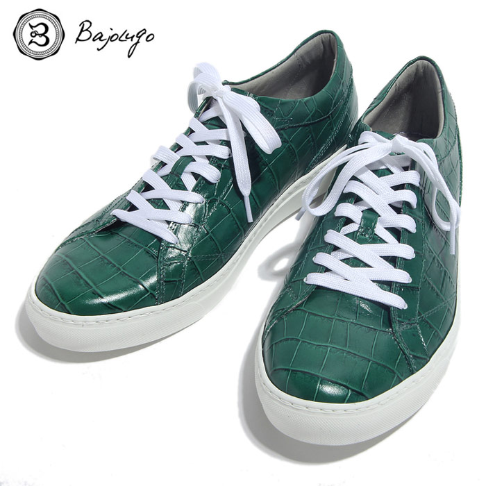 BajoLugo バジョルゴ おとこのブランドHEROES 掲載 スニーカー シューズ クロコダイル レザー 靴 グリーン MENS メンズ 送料無料