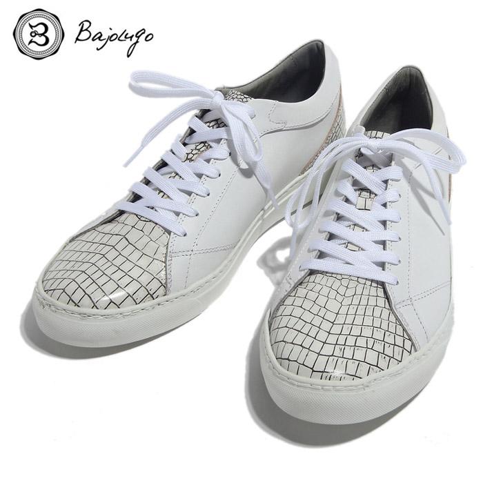 BajoLugo バジョルゴ おとこのブランドHEROES 掲載 スニーカー シューズ クロコダイル レザー 靴 ホワイト ライン ブラック MENS メンズ 送料無料