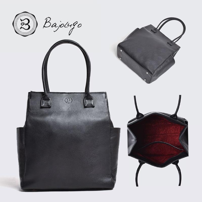 BajoLugo バジョルゴ ミニトート シボ ブラック バッグ 鞄
