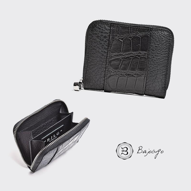 BajoLugo バジョルゴ コインケース BJLG バッファロー ブラック × 本クロコ ブラック 財布 小銭入れ レザー 日本製