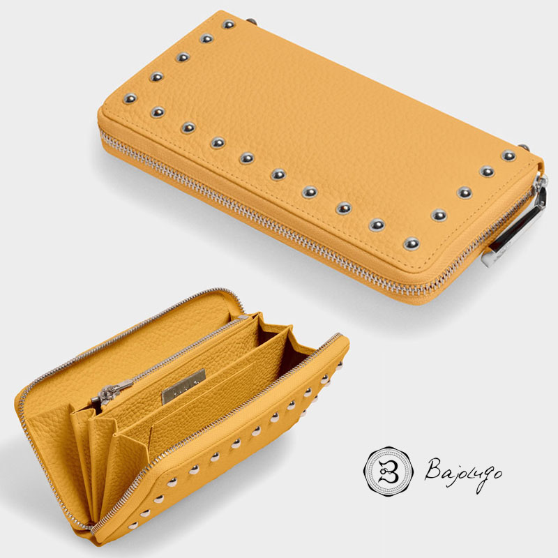 BajoLugo バジョルゴ ラウンドジップ ウォレット シボ イエロー 財布 長財布 レザー スタッズ 日本製