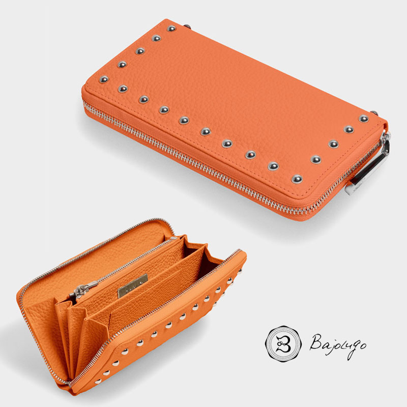 BajoLugo バジョルゴ ラウンドジップ ウォレット シボ オレンジ 財布 長財布 レザー スタッズ 日本製