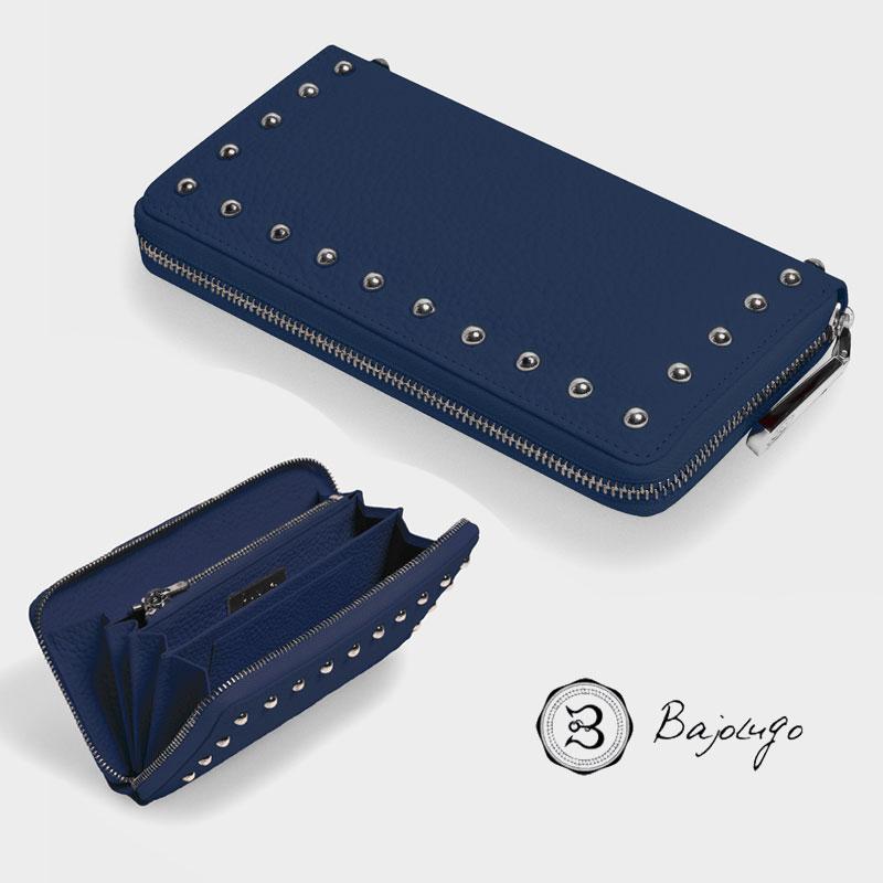 BajoLugo バジョルゴ ラウンドジップ ウォレット シボ ネイビー 財布 長財布 レザー スタッズ 日本製