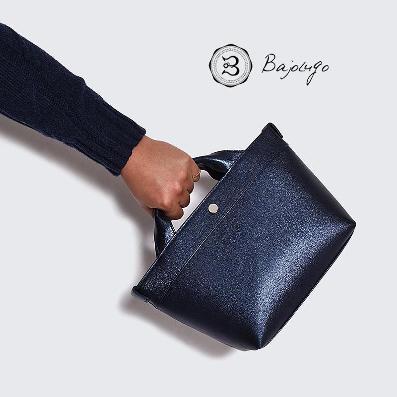 日本製 シボ チビトート レザー バジョルゴ プラチナブルー BajoLugo 鞄