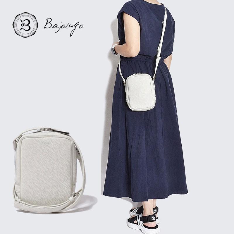 牛革 ホワイト ボックス BajoLugo コンパクトショルダー シボ バジョルゴ バッグ 鞄