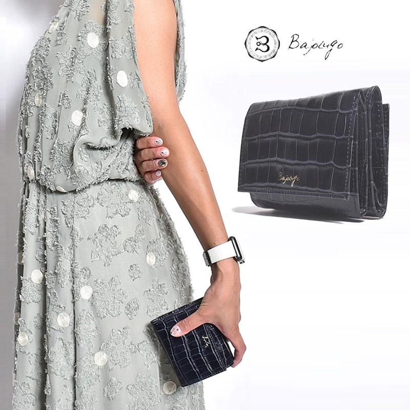 BajoLugo バジョルゴ コンパクトウォレット クロコ ネイビー 三つ折りウォレット 財布 布 レザー 日本製