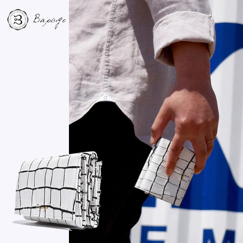 BajoLugo バジョルゴ コンパクトウォレット クロコ ホワイトラインブラック 三つ折りウォレット 財布 布 レザー 日本製